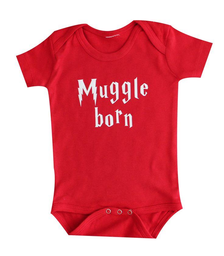 www.BabyApparels.etsy.com muggle born red baby onesie