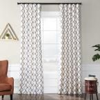 Exclusive Fabrics & Furnishings Pavillion Pearl White Flocked Faux Silk Curtain – 50 in. W x 120 in. L
