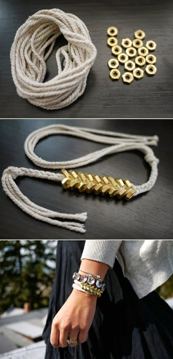 DIY Projects: braided hex nut bracelet