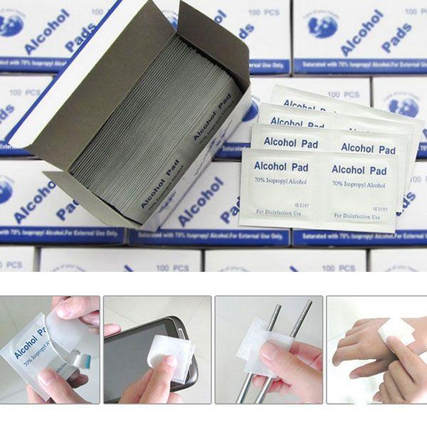 Portátil 100 unids/caja Hisopos Con Alcohol Pads Wipes Piel Limpiador Esterilización 70% Isopropílico de Primeros Auxilios de Viaje a Casa