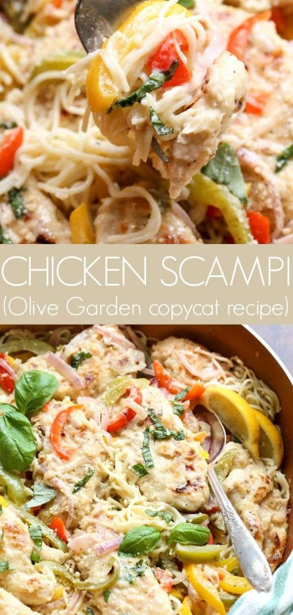 Easy chicken scampi recipe with noodles, chicken, peppers, and a scampi sauce. O…