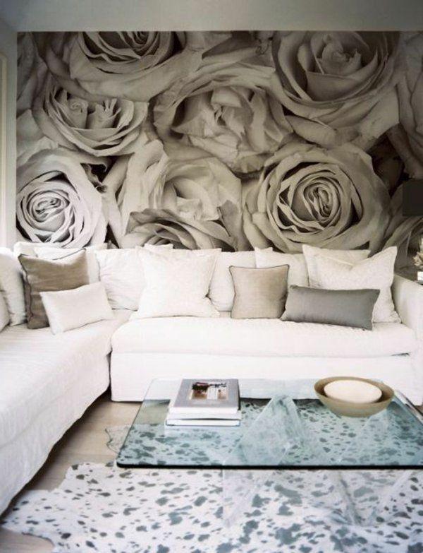 rosentapete wohnzimmer wandgestaltung fellteppich