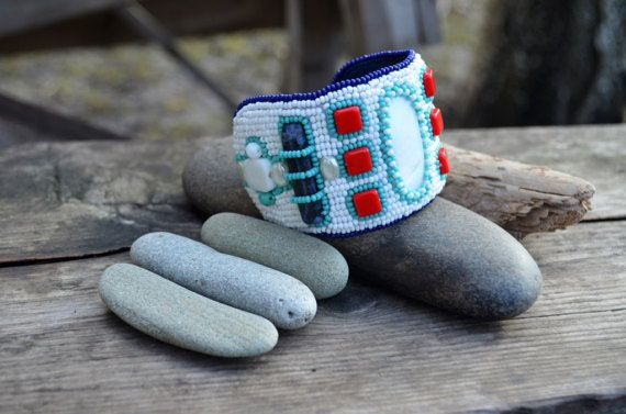 Geometric cuff bracelet White Blue Red Turquoise Bead Embroidered Bracelet Wide Seedbead Bracelet Hand Beads Embroidered Nautical style Cuff