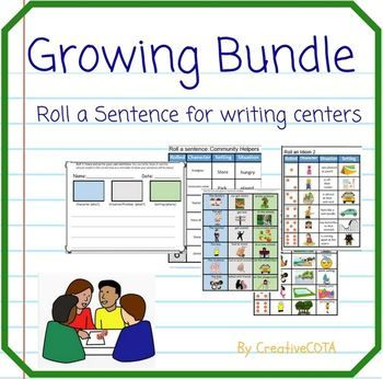 This is a Roll a Sentence Growing Bundle that when complete will contain 35-40 themes for a full school year.  Roll a Sentence activities can be used for a writing center, literacy center, small group activity, full classroom lesson or leave with your sub plans.