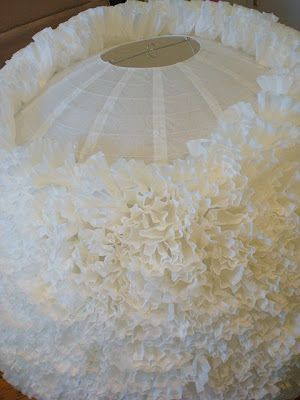 DIY coffee filter paper lanterns... Great idea for hanging at a wedding!