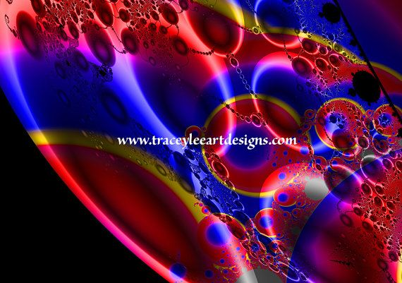 Art print of fractal planet image in red by Traceyleeartdesigns