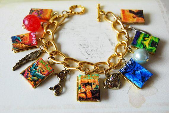 6-7 book series - mini book locket charm bracelet for Harry Potter, Narnia, Kingdom Keepers