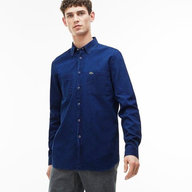 015e4fda89 Lacoste Men's Regular Fit Cotton Denim Shirt With Pockets Size Large ...