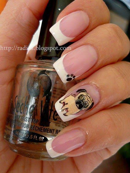 It`s all about nails: pug #nail #nails #nailart  (I wouldn't do this, but its still kinda cute)