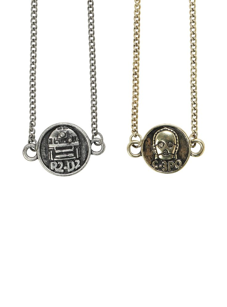 """These are the droids you are looking for - on two chain necklaces!<ul><li> 18"""" chain; 3"""" extender; 3/4"""" charm</li><li>Metal</li><li>Imported</li></ul>"""