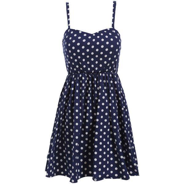 Spaghetti Strap Polka Dot Pleated Dress ($17) ❤ liked on Polyvore featuring dresses, vestidos, vestidos curtos, blue, navy, navy sleeveless dress, sleeveless dress, sleeve dress, navy polka dot dress and short navy dress