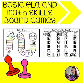 These board games make for great centers. This download includes 25 basic knowledge board games. The skills covered include: Capital Letter ID Lower-Case Letter ID Letter Sound ID Letter Blends Sight Words Real Vs.Nonsense Words Number ID Subitizing