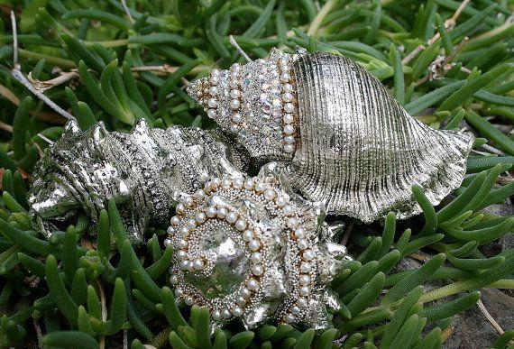 Jeweled Seashells Sea Shells Sea Goddess Encrusted Rhinestones Crystals Romantic Nautical Beach Cottage Seaside Home Decor - Treasury Item