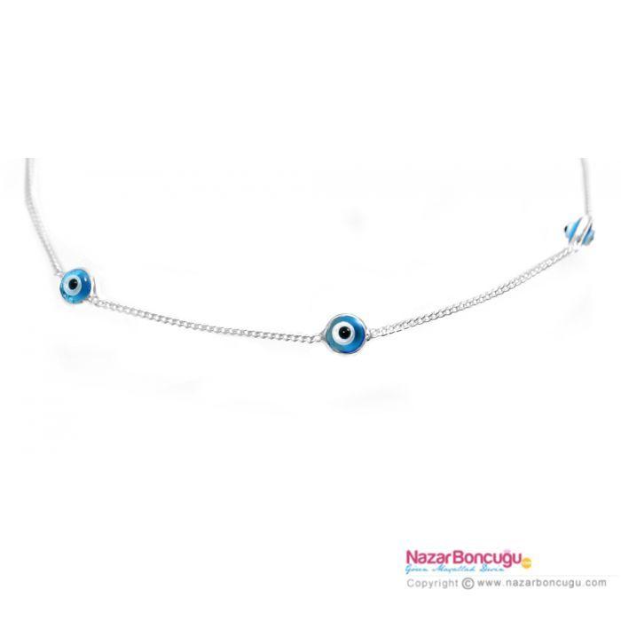 Nazar Boncuklu Gümüş Halhal - Bu el yapımı şık halhal; minik cam nazar boncukları ve 925 ayar gümüş zincirden üretilmiştir.