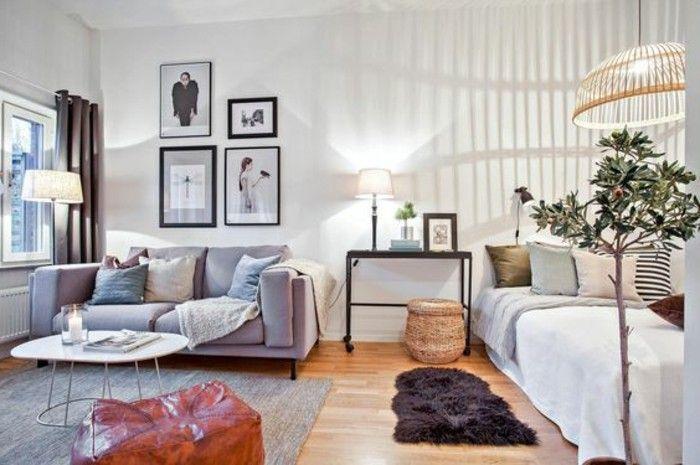 petit studio sol en parquet clair, tapis gris murs blancs, deco studio 20m2
