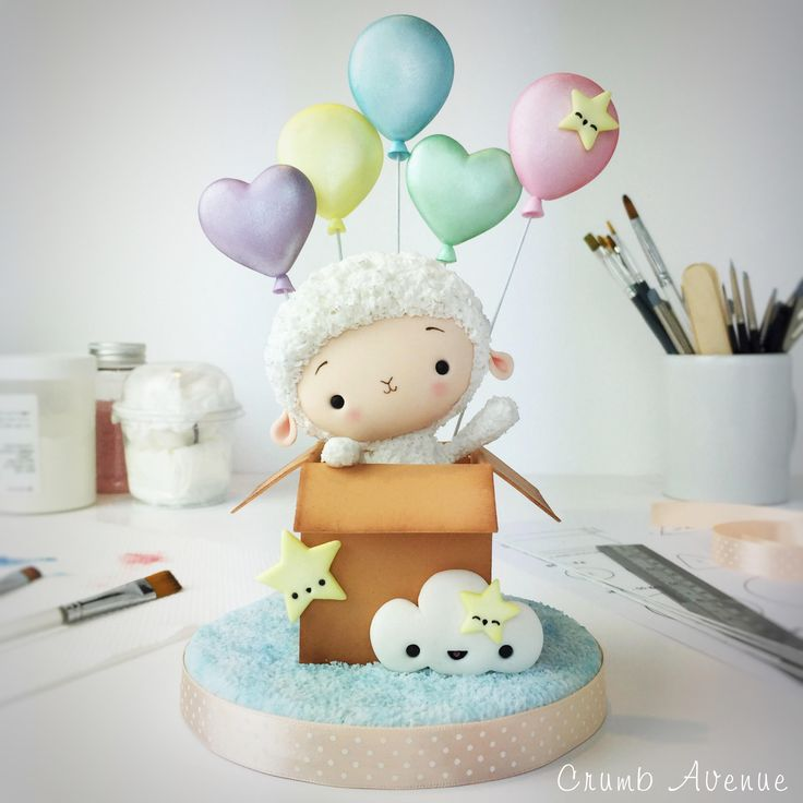 Cute Little Lamb - PDF Cake Topper TUTORIAL  /baby shower, sheep, balloons