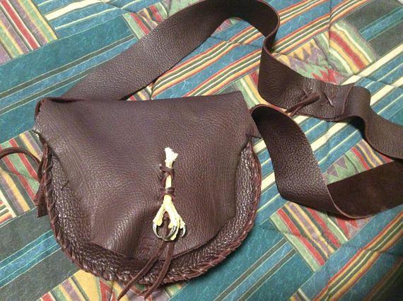 Mountain Man Bag Dark Brown DeerHide Leather Bag Buckskin