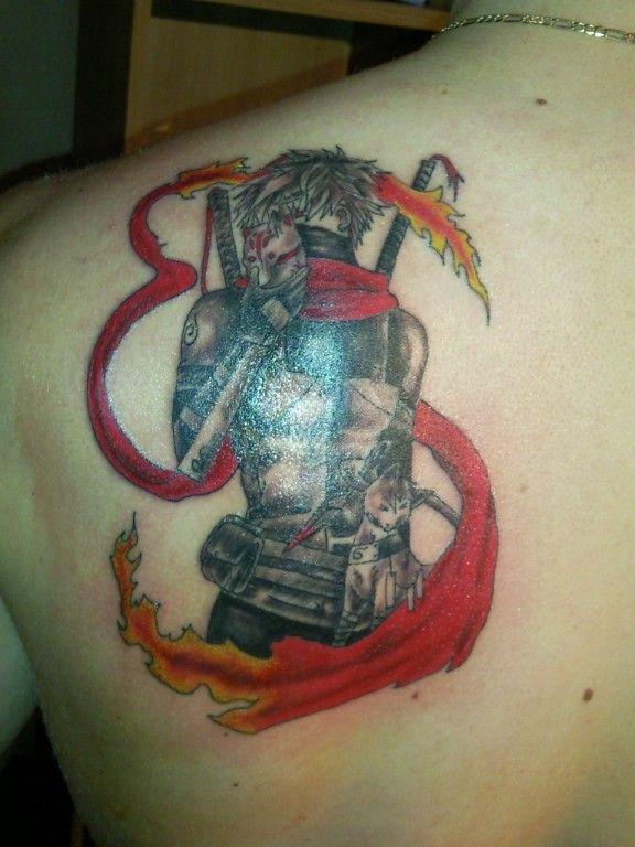 Grey Ink Naruto With Kakashi Tattoo On Left Back Shoulder
