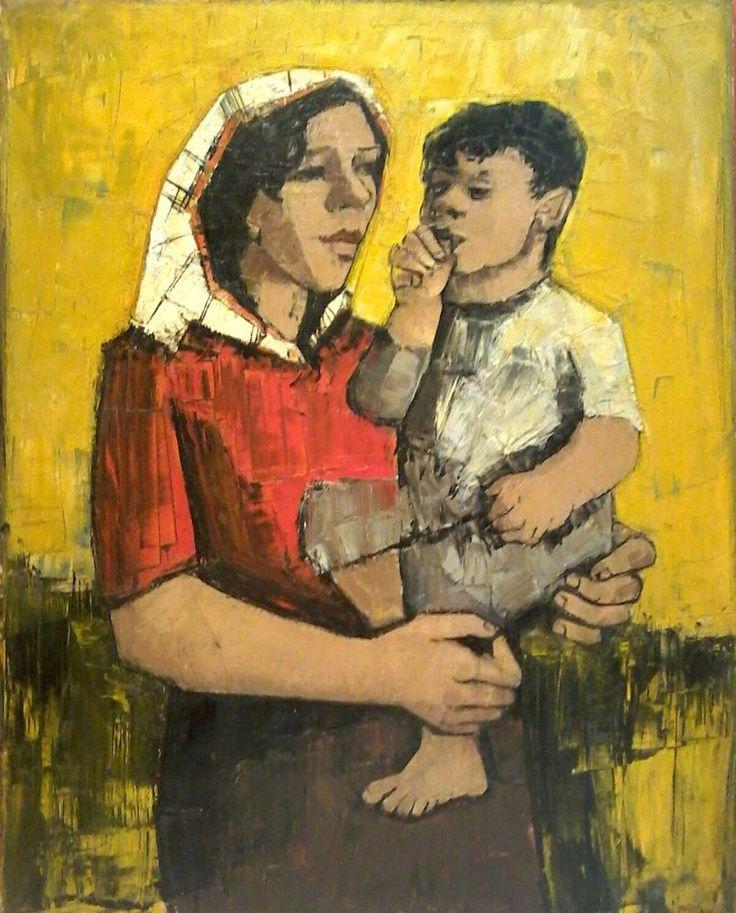 HJ (BER) MENGELS Listed DUTCH CUBIST Artist Sd Original MOTHER w/ CHILD O/C N/R #Cubism