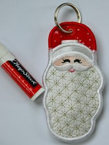 """In The Hoop :: Key Rings, Key Fobs :: Santa Key Ring Chapstick Holder - Embroidery Garden 