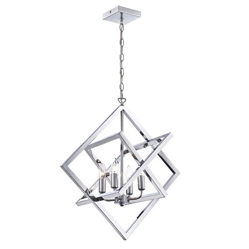 Isidro Chrome Four Light Chandelier In Geometric Design