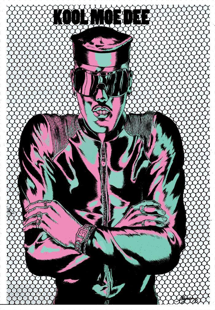 jonnynegron: Pinup of Kool Moe Dee, for Ed Piskor's Hip Hop Family Tree