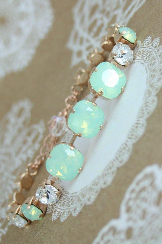 Mint green bracelet,crystal bracelet,rose gold bracelet,rose gold mint…