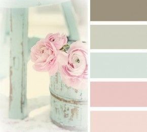 Shabby chic pastel rose paint pallet