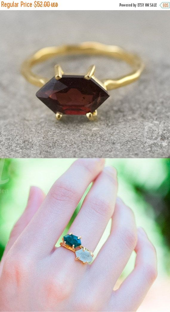 SALE  Garnet Ring Gold  January Birthstone Ring  Stack by delezhen