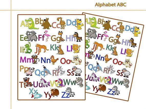 English Animals Alphabet 8 X 10 In 11 X 14 In Alphabet Poster Children Wall Art Abc Art Print Kids Room Decor Alphabet For Kids