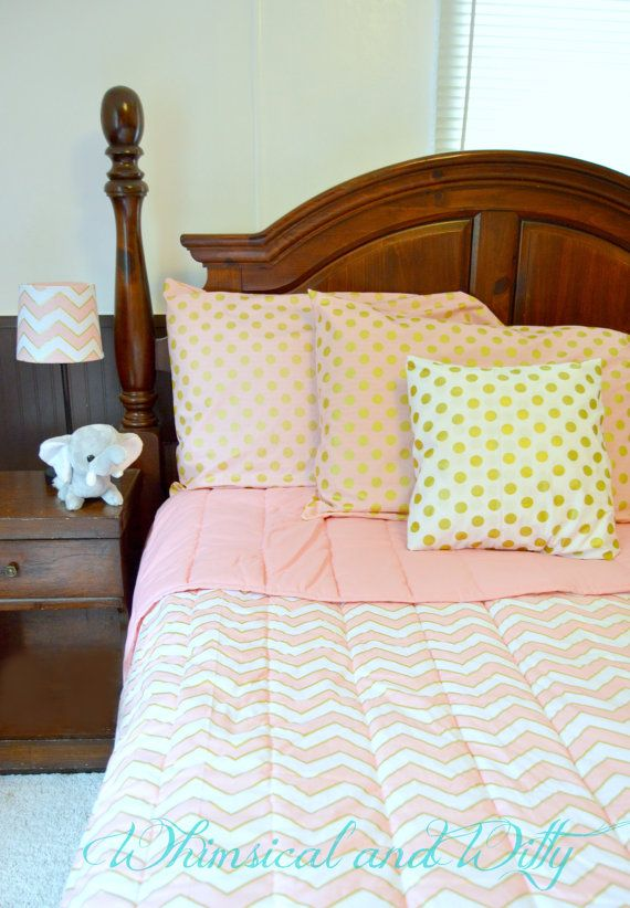 Gold and Pink Toddler and Big Kid Bedding - Polka Dots and Chevron on Etsy, $211.00 it's so cute!!!!