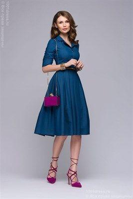 Платье голубое джинсовое длины миди с отложным воротником и юбкой в складку - фото 19094