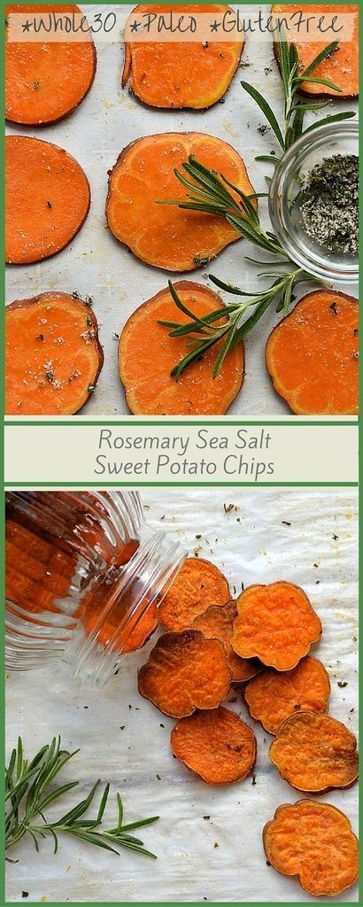 Rosemary Sea Salt Sweet Potato Chips.Baked, unprocessed snack for your next party.
