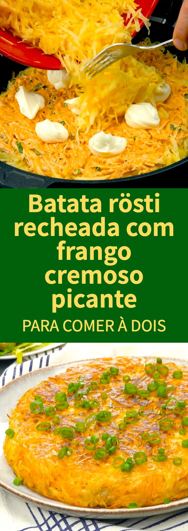 Batata rösti recheada com frango cremoso picante #batata #batatarosti #receitadebatatarosti #frangopicante #batatarecheada #batatarostirecheada