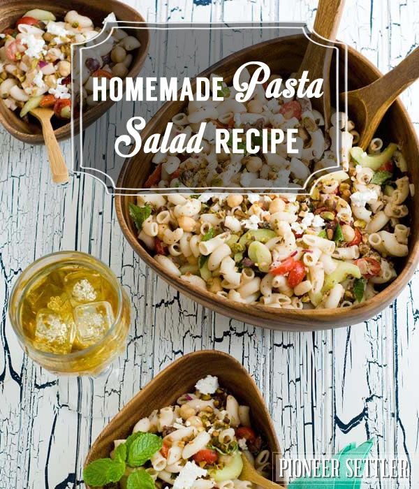 Health and easy homemade pasta salad recipe. | http://pioneersettler.com/homemade-pasta-salad-recipe/