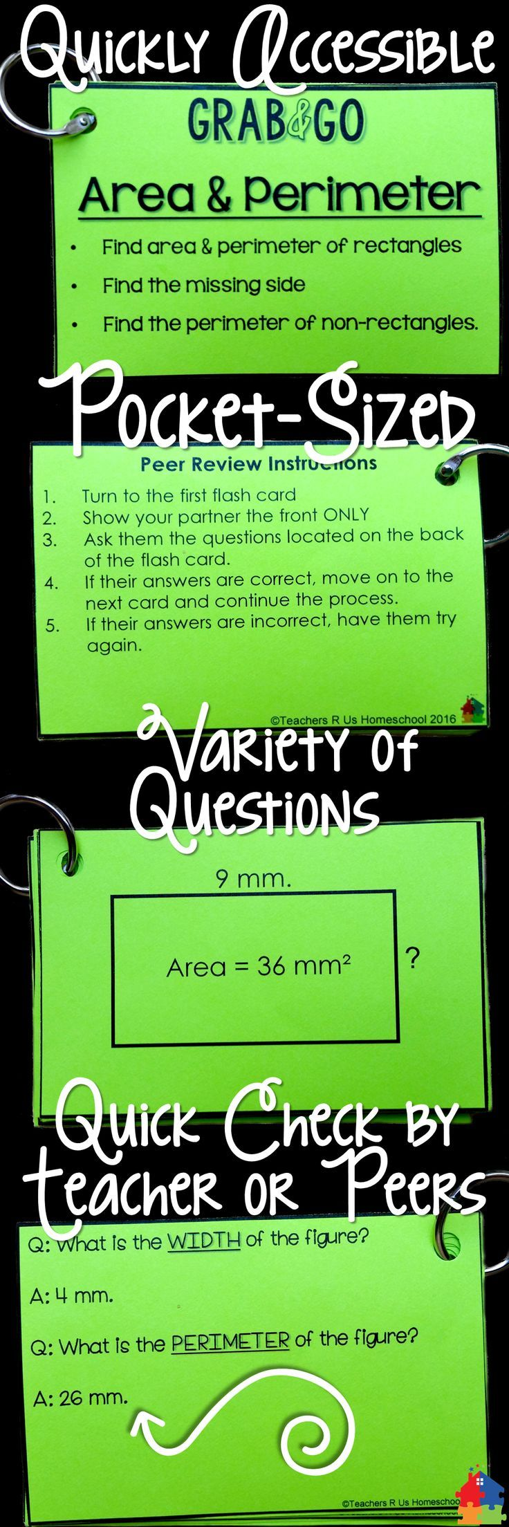 These Area & Perimeter flash cards are incredibly useful for math test prep! Place them in math centers, use as ticket out the door, or even with math games or morning work. Tons of uses!