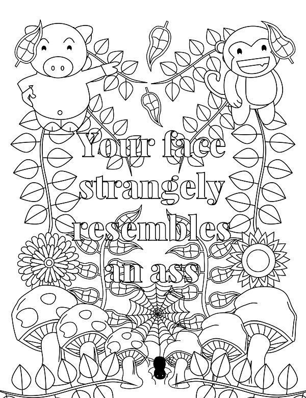 Screw you Asshole - Adult Coloring page - swear. 14 FREE printable coloring  pages, Visit swearstressaway.com to download and print 14 swear word  coloring ...