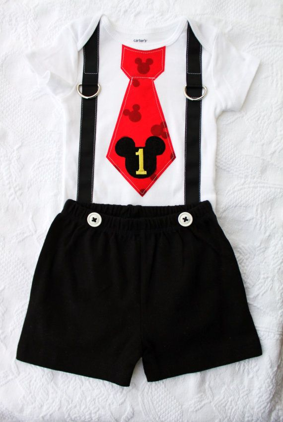 Mickey Mouse Birthday Tie and Suspenders Bodysuit & Black Shorts w White Buttons…
