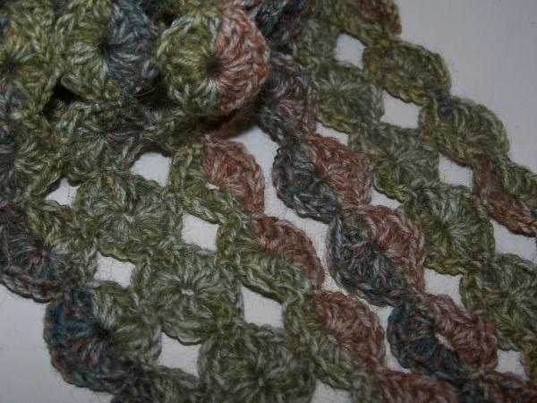 Hæklet tørklæde icirkler, oppskrift dansk