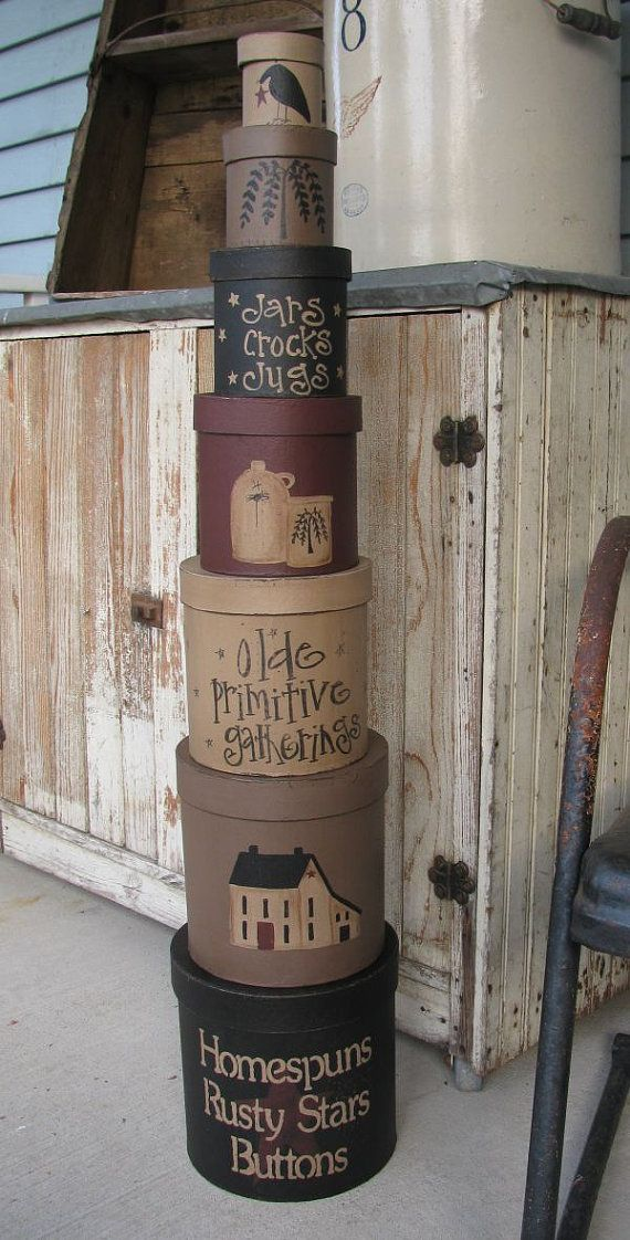 Primitive Gatherings Set of 7 Round Stacking by GainersCreekCrafts, $59.99