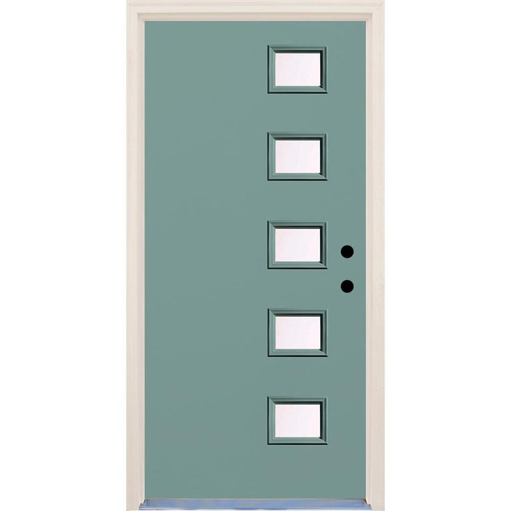 Builder's Choice 36 in. x 80 in. Surf (Blue) 5 Lite Clear Glass Painted Fiberglass Prehung Front Door with Brickmould