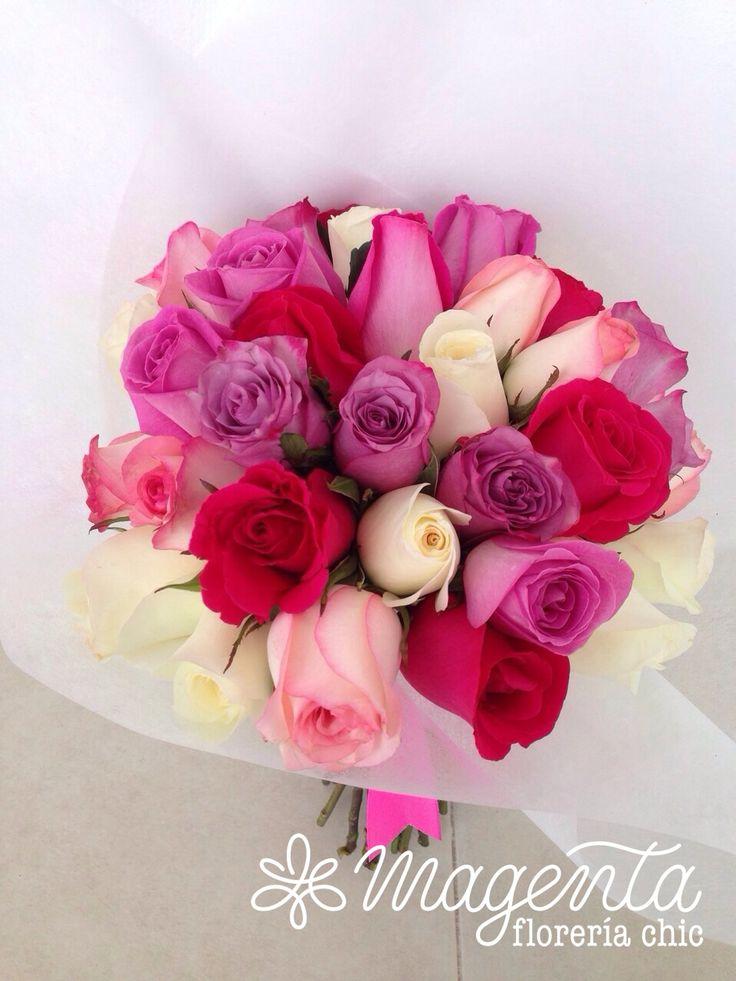BOUQUET DE ROSAS EN MEZCLA DE COLORES.  www.floreriamagenta.com #flores #floreria #ramosDeNovia #novias #eventos #bodas #rosas #mexico #puebla #diseñoFloral #floreriaMagenta