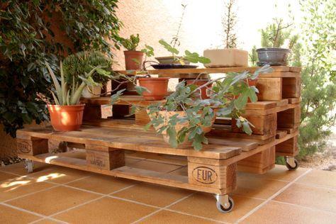 ECOdECO Mobiliario の 家具 MARBORÉ jardinera palets. 120x80cm, 3 alturas