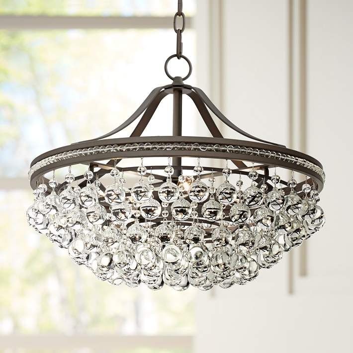 "Wohlfurst 20 1/4""W Bronze 5-Light Crystal Pendant Light - #1K583 