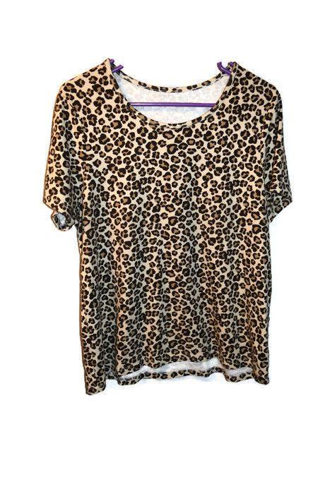 Womens Shirt White Stag Size XXL 20 Brown Cheetah Animal Print Tee Tshirt Top  #WhiteStag #PrintedTee