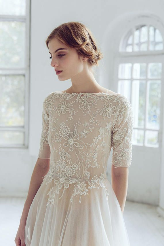 Lace Wedding Dress Thalia Tulle Wedding Gown Boat Etsy In 2020 Wedding Dress Necklines Modest Bridal Gowns Bridal Dresses