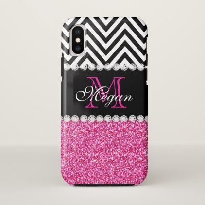 Personalized Pink Glitter Black Chevron Initial iPhone X Case - girly gift gifts ideas cyo diy special unique