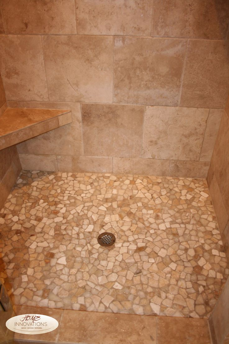 Beige tumbled travertine tile master bathroom cut river for Bathroom ideas mosaic tiles