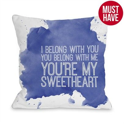 You're My Sweetheart Inkblot Ozsale Purple 16x16 Pillow-72638PL16-White-Blue