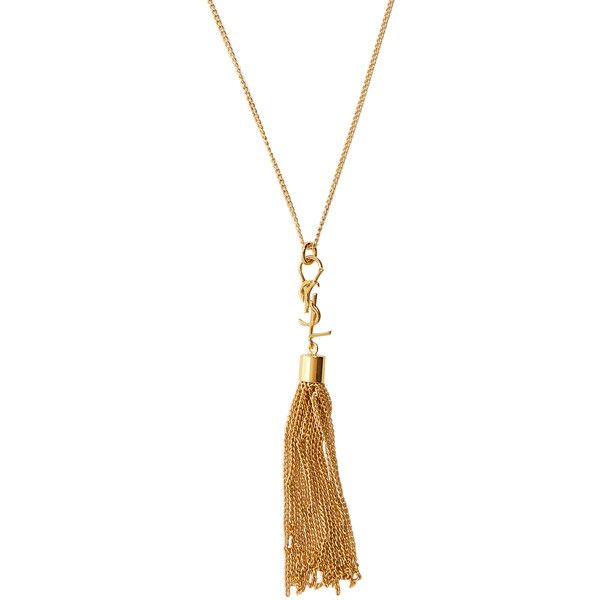 Saint Laurent Monogram tassel necklace (€395) ❤ liked on Polyvore featuring jewelry, necklaces, gold, chain tassel necklace, tassel jewelry, chain pendant necklace, monogram pendant and gold tone jewelry